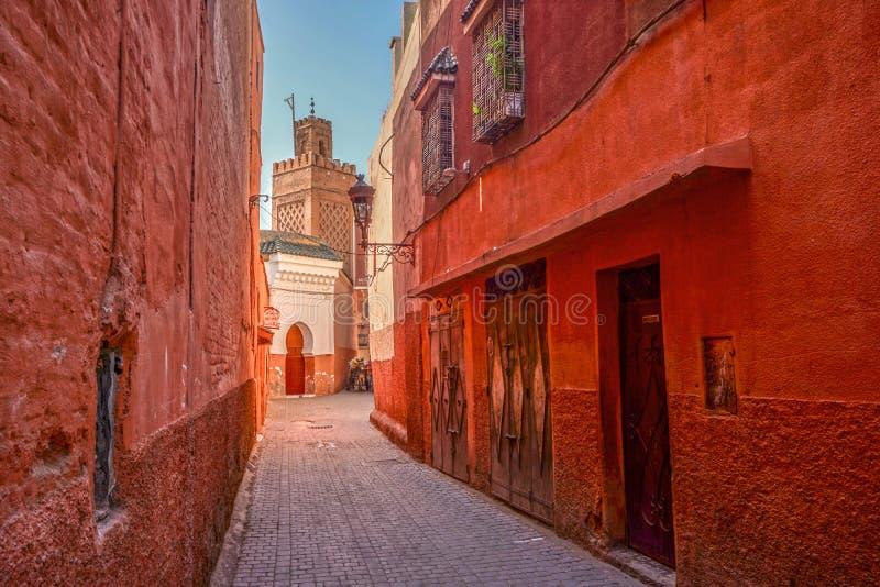 Röda medina av Marrakech, Marocko royaltyfri fotografi