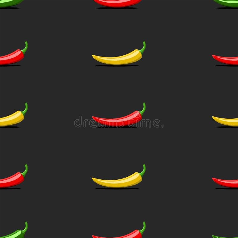 Röda mexikanska grönsaker för sömlös modell, gröna gula bittra chilipeppar på en svart bakgrund, menyräkning för en mexikan royaltyfri illustrationer