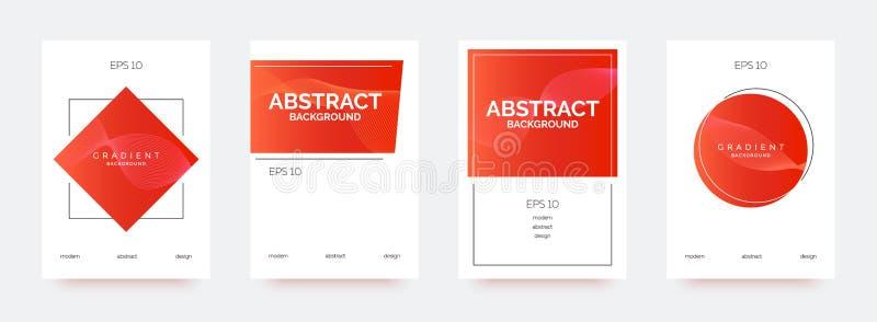 Röda moderiktiga baner, broschyrer, reklamblad, bakgrunder med abstrakta lutningformer royaltyfri illustrationer