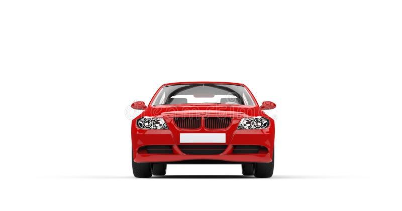 Röda moderna bil- Front View stock illustrationer