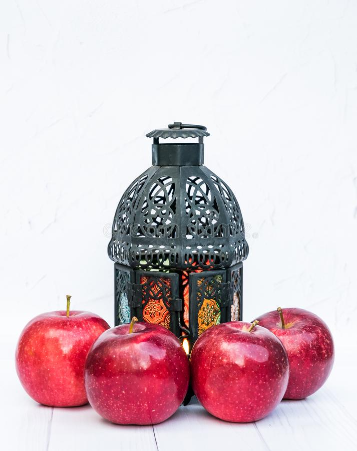 Röda mogna äpplen och en tappningficklampa frostmorgonvykortet reflekterade vinter för tree för sun för snow för rimefloden skina royaltyfri fotografi