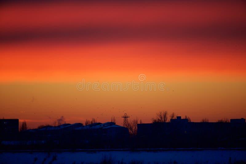 Röda moln för tidigt på morgonen royaltyfri bild