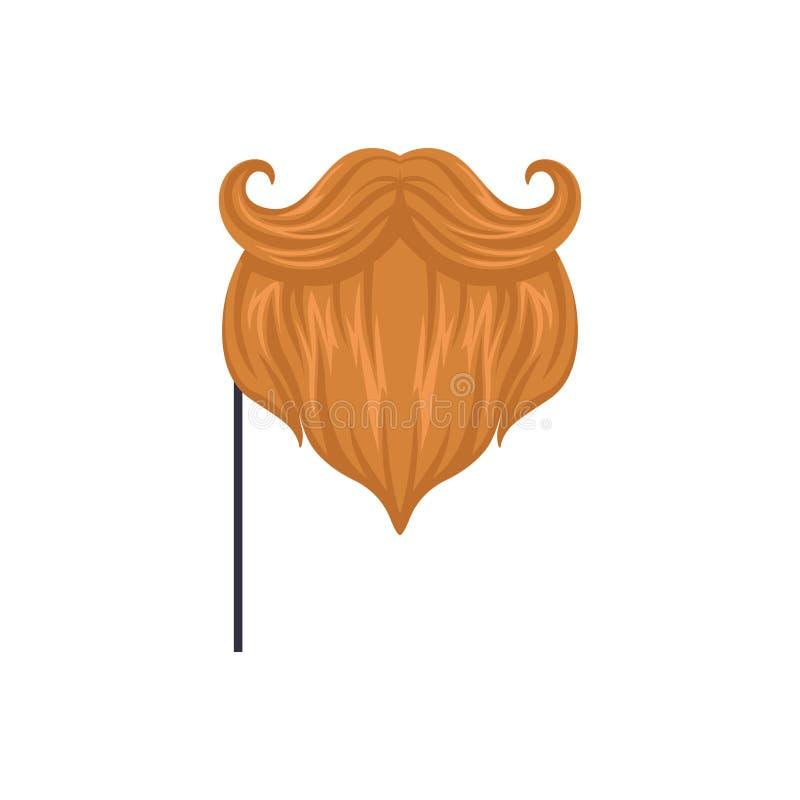 Röda mustascher och skägg, för beståndsdeltecknad film för maskerad dekorativ illustration för vektor på en vit bakgrund royaltyfri illustrationer