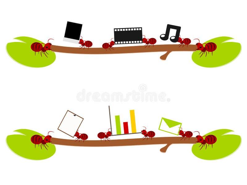 Röda myror underhållning och arbetsillustration stock illustrationer