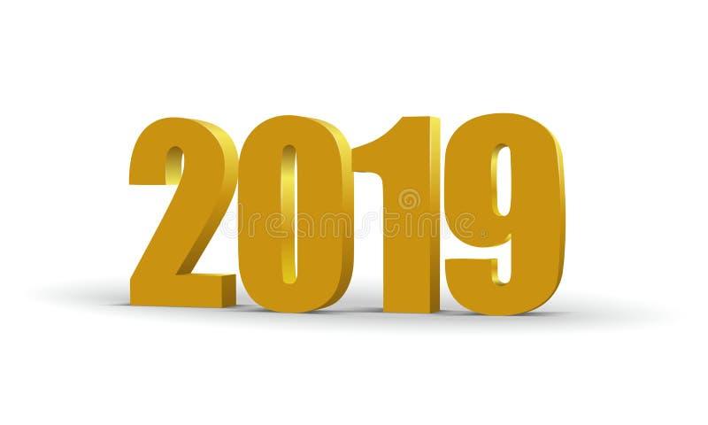 2019 röda nummer 3d för lyckligt nytt år Kulört pappers- symbol för perspektiv också vektor för coreldrawillustration stock illustrationer