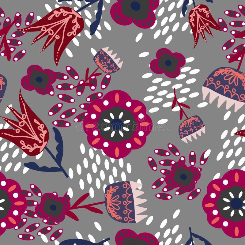 Röda och blåa folk blom- prydnader på en grå färg royaltyfri illustrationer