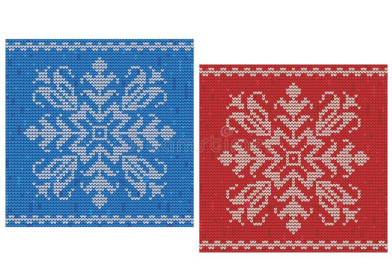 Röda och blåa häftklammermodeller med snöflingor vektor illustrationer