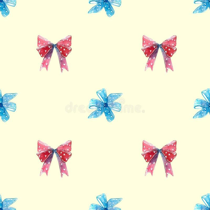 Röda och blåa pilbågar, virvelklubbasugorgan med den sömlösa modellen för hjärtor royaltyfri illustrationer