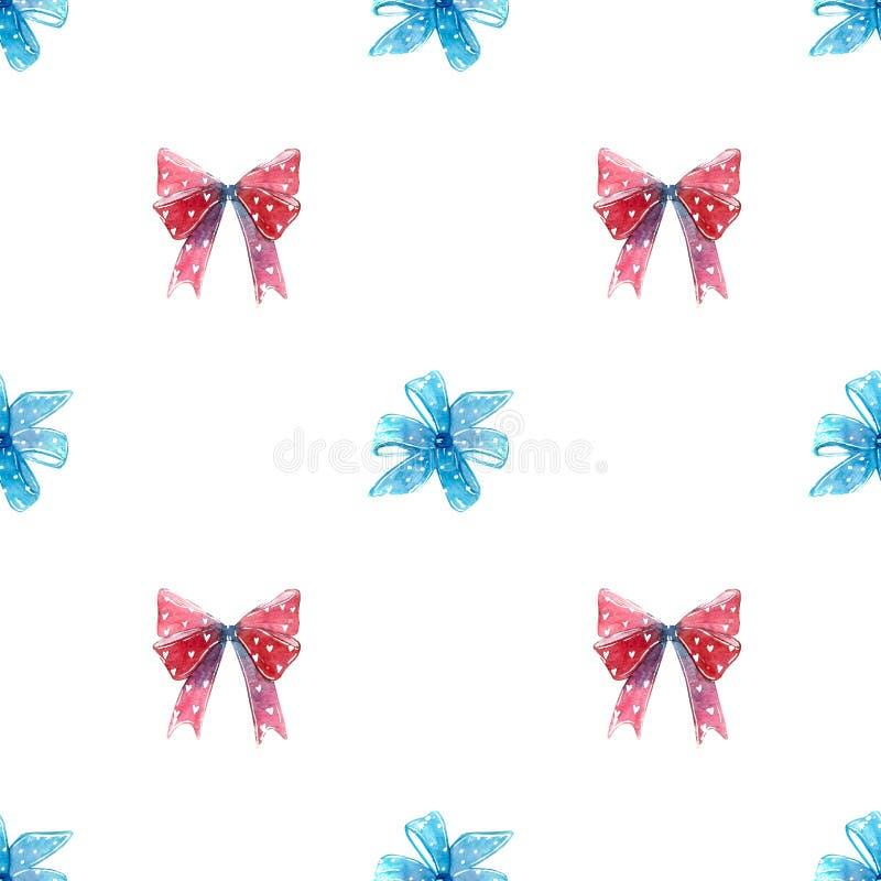 Röda och blåa pilbågar, virvelklubbasugorgan med den sömlösa modellen för hjärtor stock illustrationer