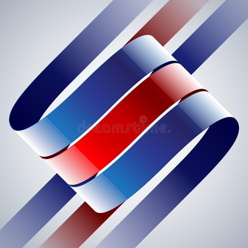 Röda och blåa skinande krökta band på vit royaltyfri illustrationer