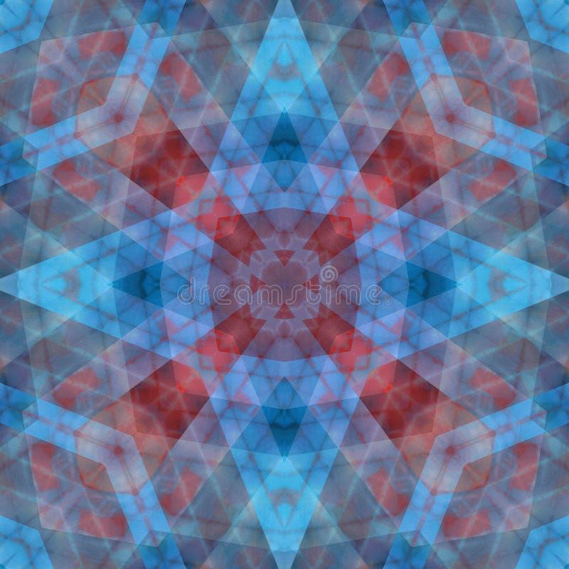 Röda och blåa vibrerande färger gjorde suddig den abstrakta sömlösa modellen för stjärnan royaltyfri illustrationer