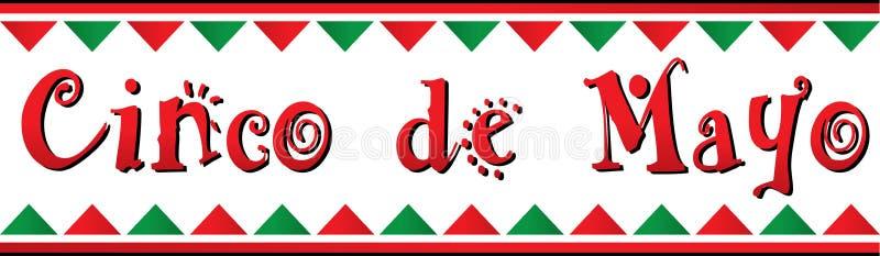 Röda och gröna Cinco De Mayo Banner royaltyfri illustrationer