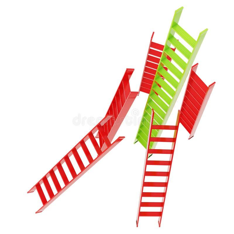 Röda och gröna glansiga stegar som isoleras på vit vektor illustrationer