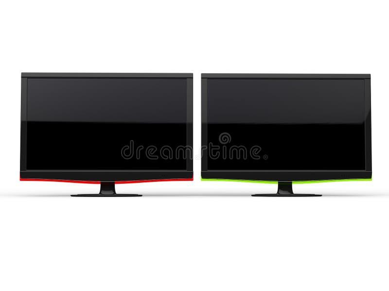 Röda och gröna moderna TVskärmar royaltyfri illustrationer