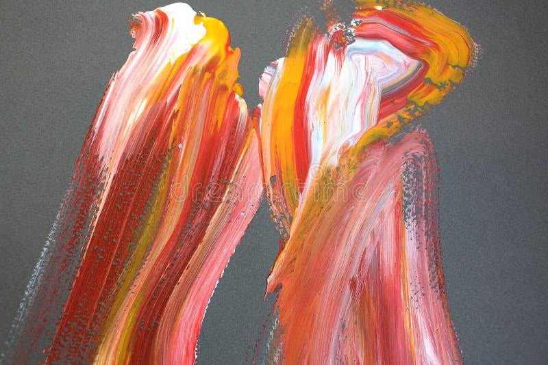 Röda och gula borsteslaglängder på kanfas abstrakt konstbakgrund F?rgtextur Fragment av konstverk abstrakt kanfasm?lning stock illustrationer