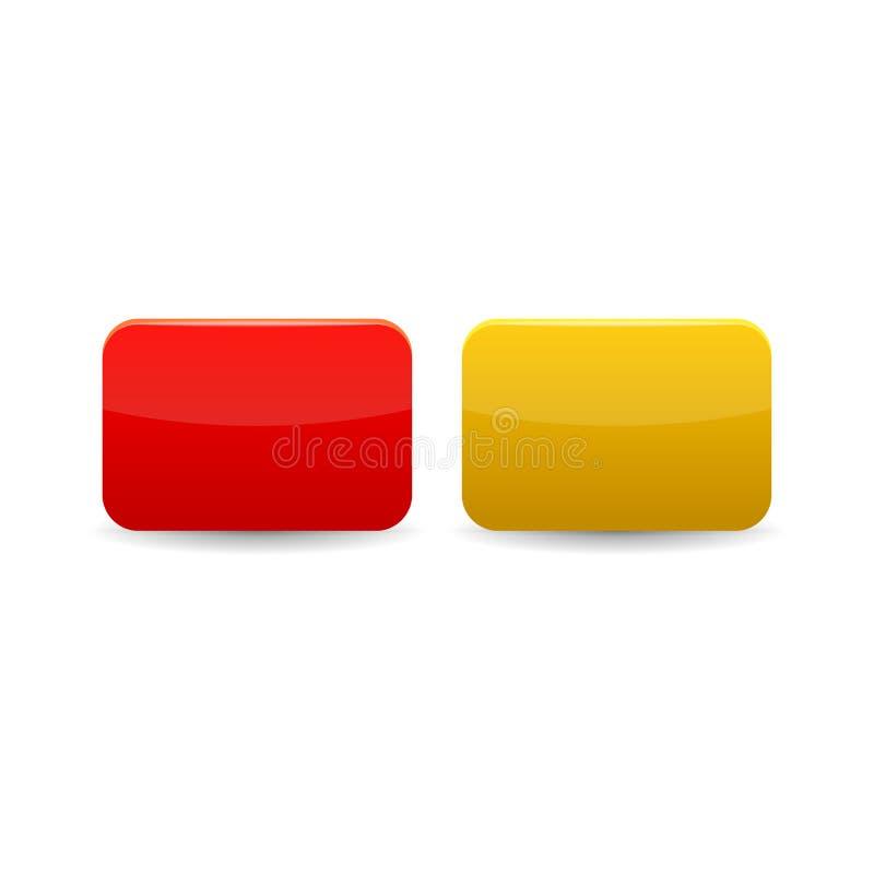 Röda och gula kort symbol, tecknad filmstil stock illustrationer