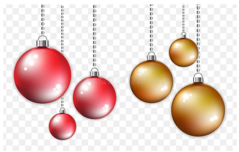 Röda och guld- bollar med silverkedjan Jul och stil för nytt år på genomskinlig bakgrund arkivbilder