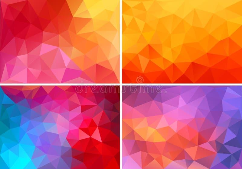 Röda och rosa låga poly bakgrunder, vektoruppsättning royaltyfri illustrationer
