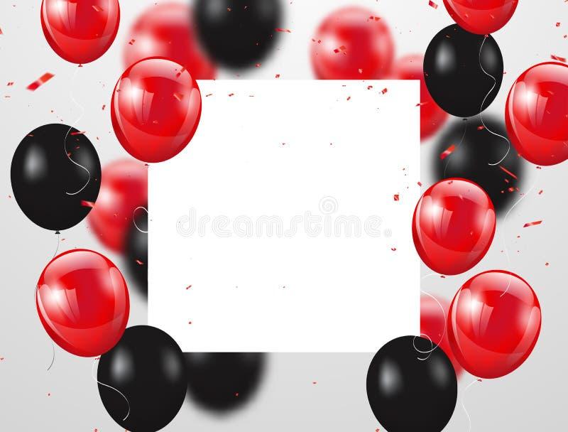 Röda och svarta ballonger, vektorillustration Konfettier och band, royaltyfri illustrationer