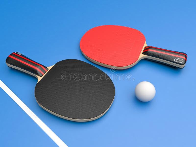 Röda och svarta bordtennisracket med bollen P? bl? bakgrund stock illustrationer