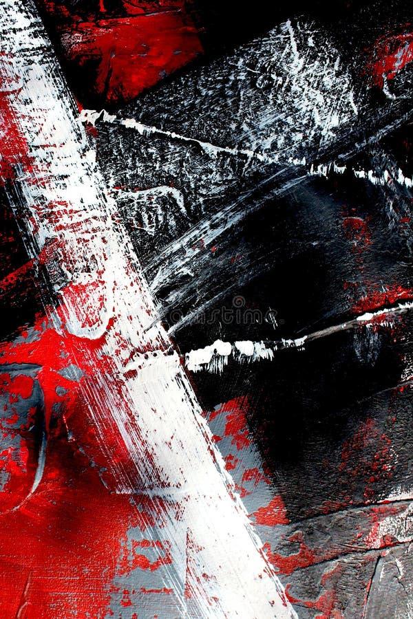 Röda och svarta färger på kanfas flod för målning för skogliggandeolja abstrakt konstbakgrund Oljemålning på kanfas Färgtextur Fr stock illustrationer