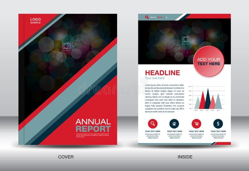 Röda och svarta för mall- och informationsdiagram om årsrapport beståndsdelar, vektor illustrationer