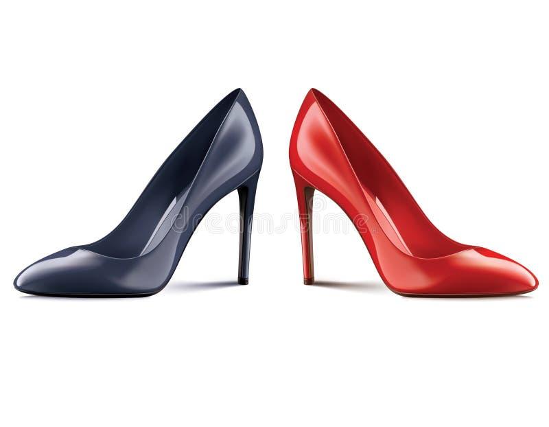 Röda och svarta skor på höga häl som isoleras på vit royaltyfri illustrationer