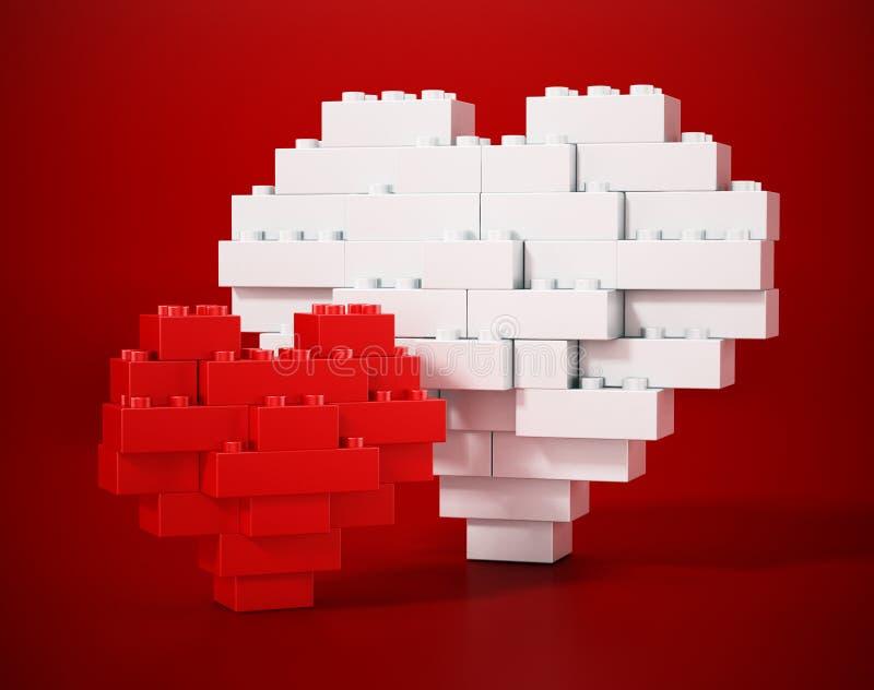 Röda och vita byggandekvarter som bildar stora och små hjärtaformer illustration 3d royaltyfri illustrationer