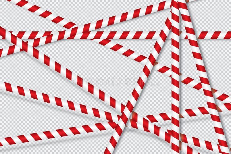 Röda och vita linjer av barriärbandet stock illustrationer