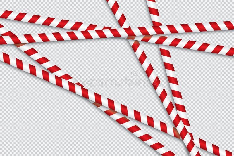 Röda och vita linjer av barriärbandet royaltyfri illustrationer