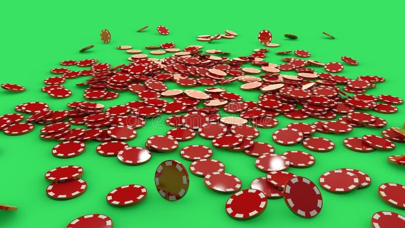Röda och vita pokerchiper royaltyfria foton