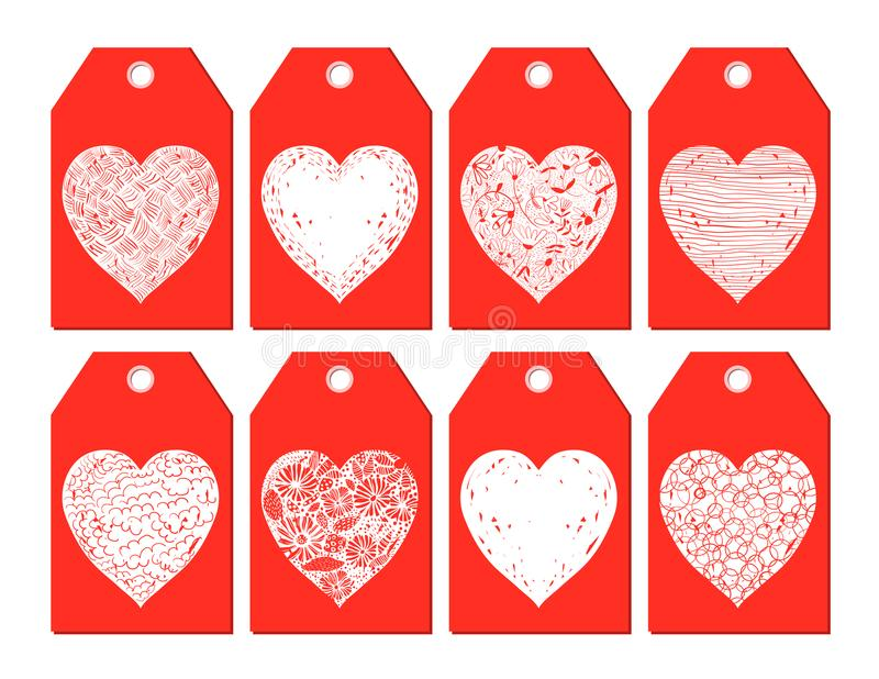 Röda och vita vektorgåvaetiketter med hjärtor vektor illustrationer