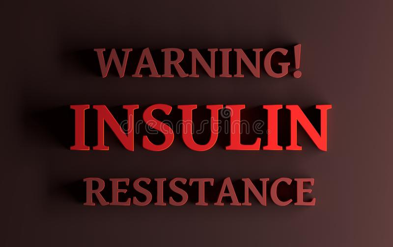 Röda ord - varnande insulinmotstånd på mörkt - röd bakgrund stock illustrationer