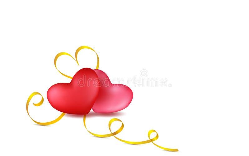 Röda par, steg hjärtor med det guld- kalligrafibandet Isolerat anmärker Design för kort för valentindaghälsning i stil 3d på vit vektor illustrationer