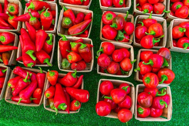 Röda peppar i små korgar som är till salu på bönder, marknadsför arkivfoton