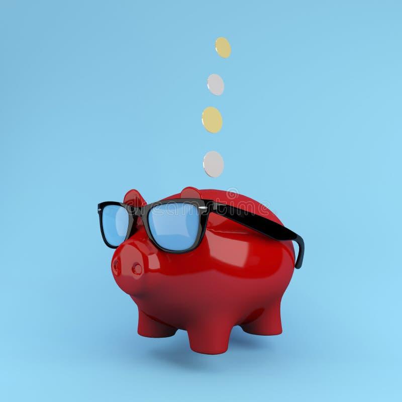 Röda Piggy besparingar som svävar på blå bakgrund använt för begreppsdesign eller website royaltyfri bild