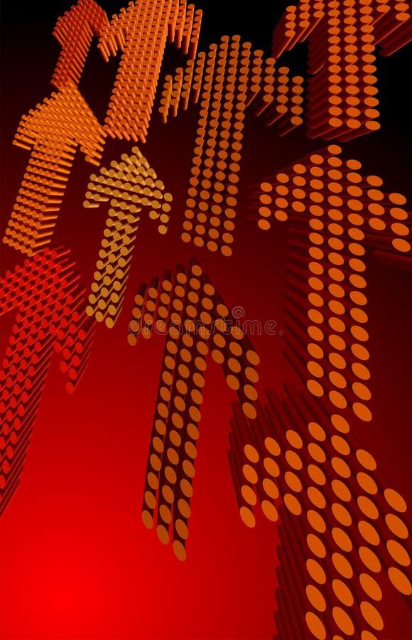 röda pilar 3d stock illustrationer