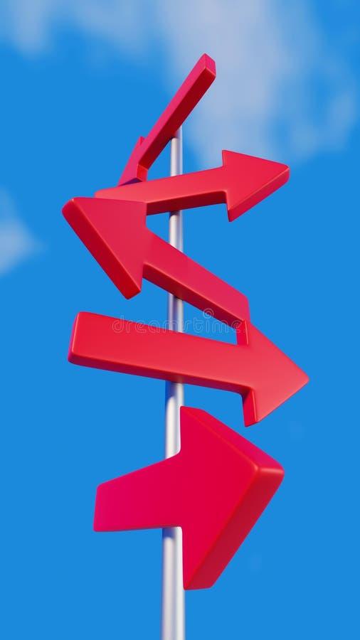 Röda pilar på vägvisare vektor illustrationer