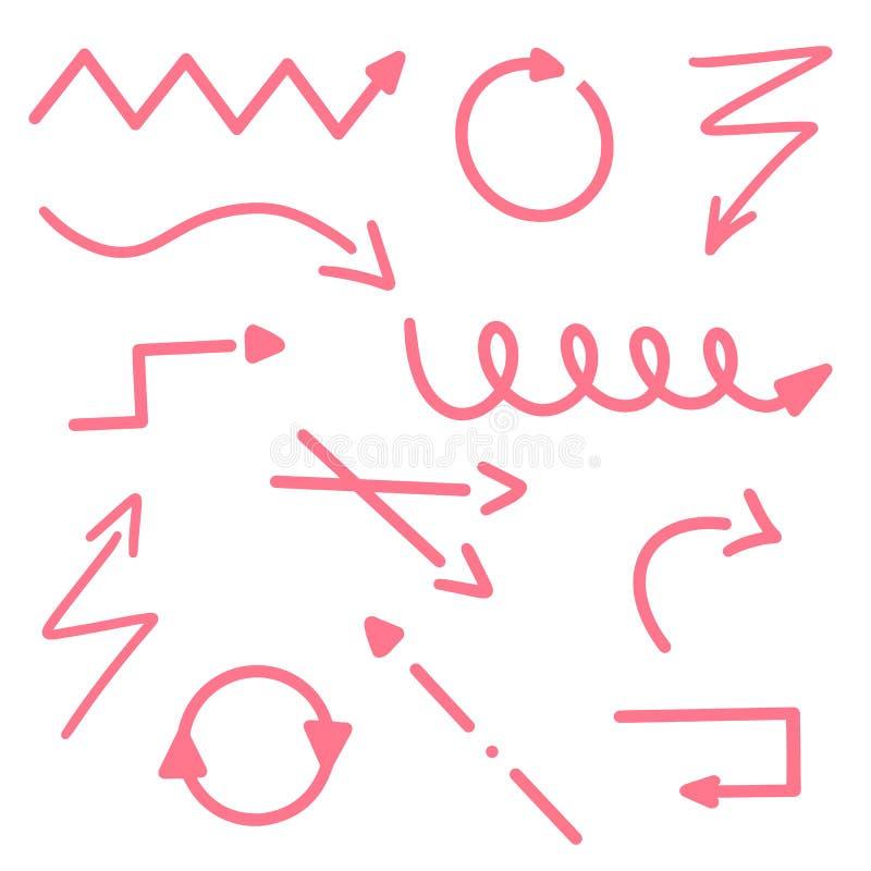 Röda pillinjer ställde in av isolerat på vit bakgrund Vektorillustrationabstrakt begrepp Pilsymbolen understryker tecknet Hand dr stock illustrationer