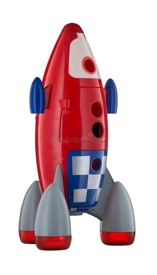 Röda plast- childs för blått- och vitleksak flyger arkivfoto