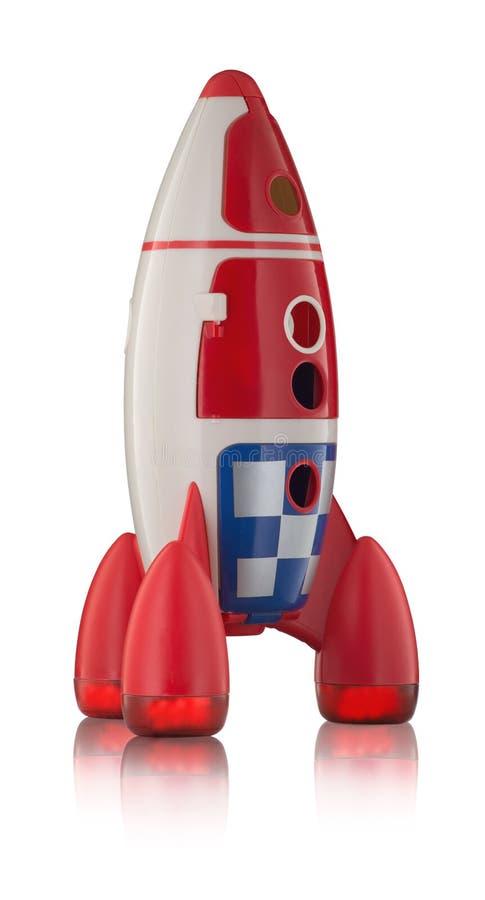 Röda plast- childs för blått- och vitleksak flyger arkivfoton