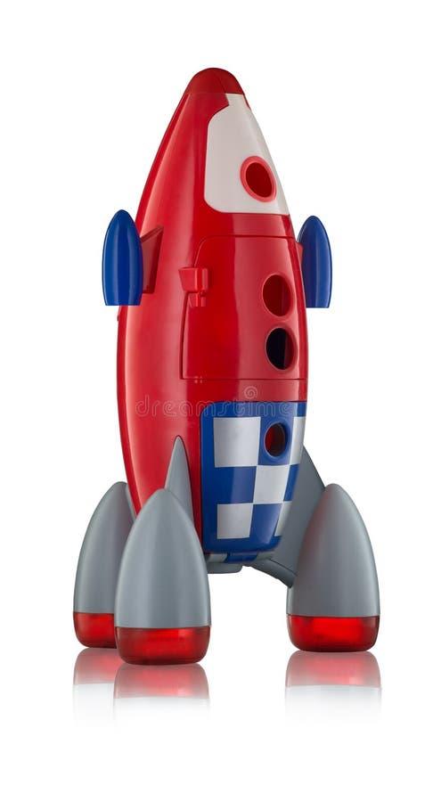 Röda plast- childs för blått- och vitleksak flyger fotografering för bildbyråer