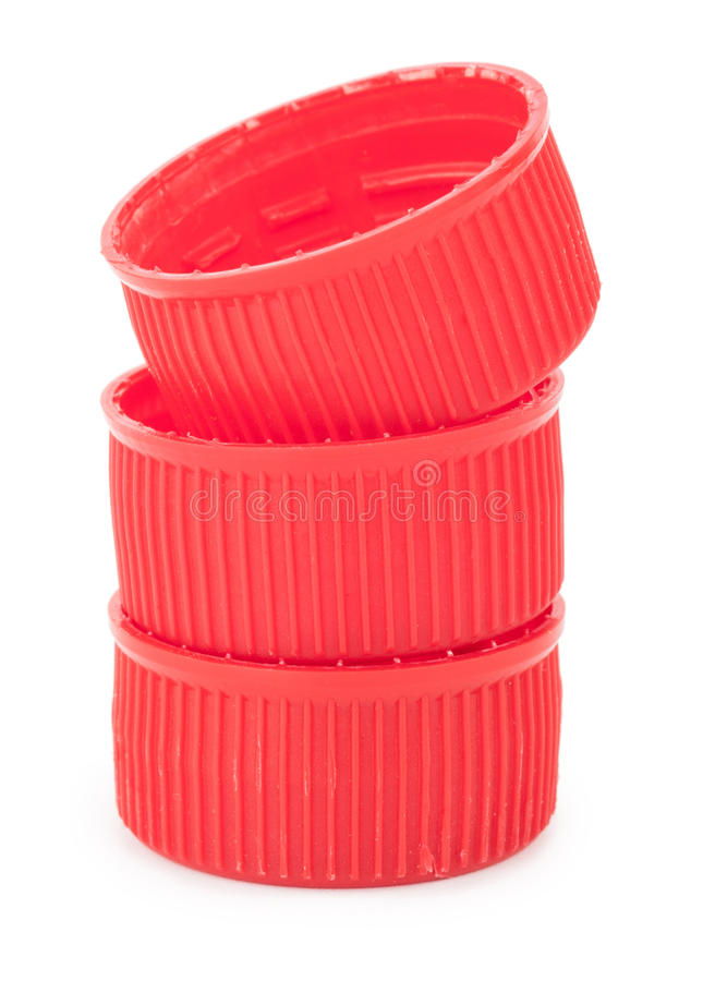 Röda plast- proppar fotografering för bildbyråer