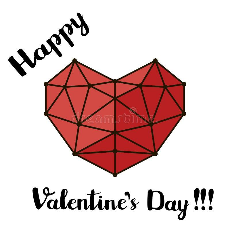 Röda polygonal linjer hjärta och den skriftliga svarta borstestilsorten för hand skriver, det lyckliga kortet för hälsningen för  royaltyfri illustrationer