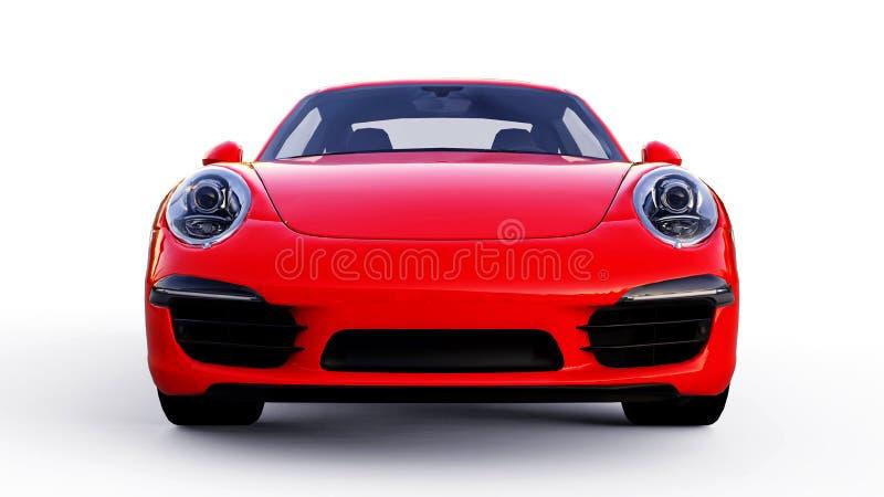 Röda Porsche 911 tredimensionell rasterillustration på en vit bakgrund framförande 3d stock illustrationer