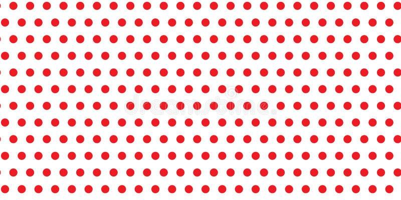 Röda prickar cirklar omkretsar på en sömlös oändlig modell mot en vit tom utrymmebakgrundstextur stock illustrationer