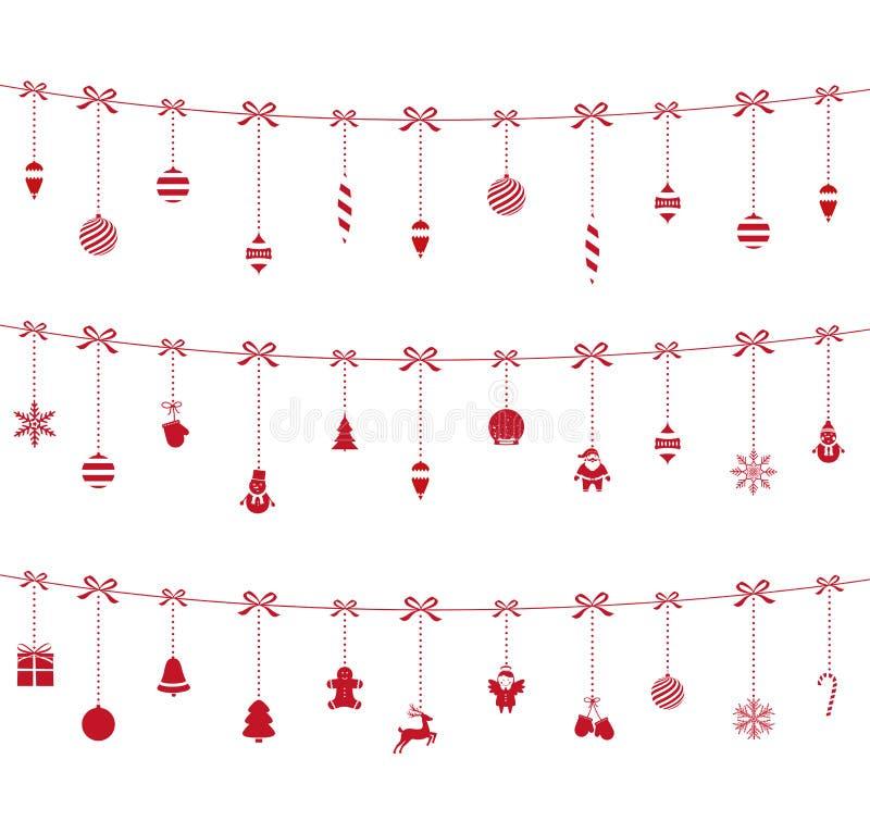 Röda prydnader för jul som hänger på rep royaltyfri illustrationer
