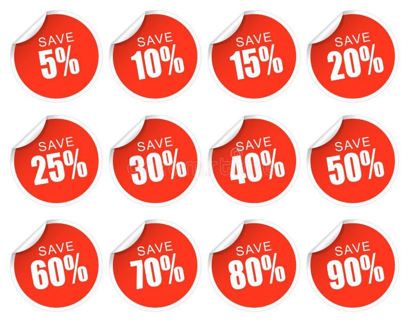 Röda rabattklistermärkear - stock illustrationer