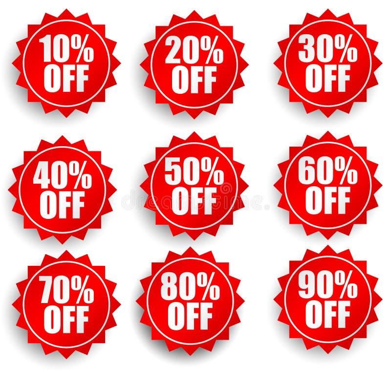 Röda rabattklistermärkear för försäljningar stock illustrationer