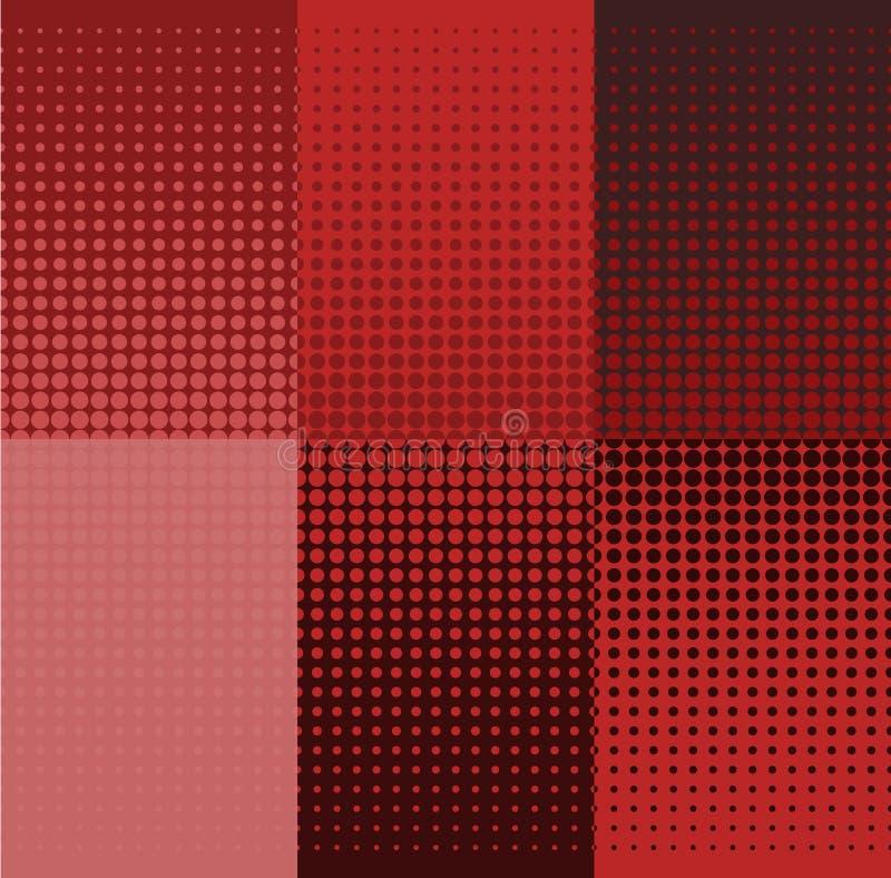 Röda rastrerade baner för Grunge vektor för set för tecknad filmhjärtor polar Prickbakgrunder royaltyfri illustrationer